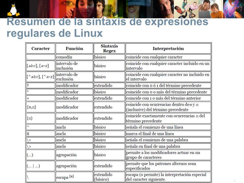 18© 2007 Linux. Todos los derechos reservados. Resumen de la sintaxis de expresiones regulares de Linux