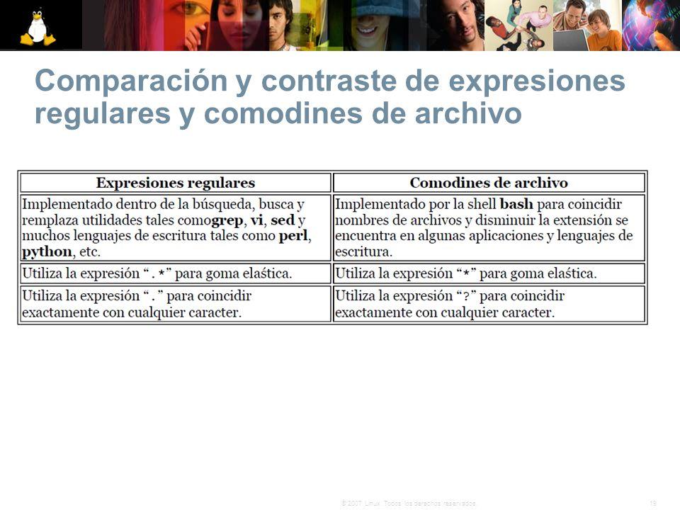 19© 2007 Linux. Todos los derechos reservados. Comparación y contraste de expresiones regulares y comodines de archivo