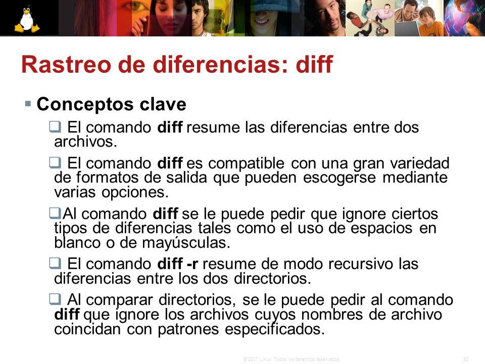 32© 2007 Linux. Todos los derechos reservados. Rastreo de diferencias: diff Conceptos clave El comando diff resume las diferencias entre dos archivos.