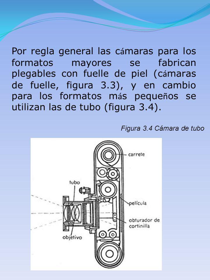 Por regla general las c á maras para los formatos mayores se fabrican plegables con fuelle de piel (c á maras de fuelle, figura 3.3), y en cambio para
