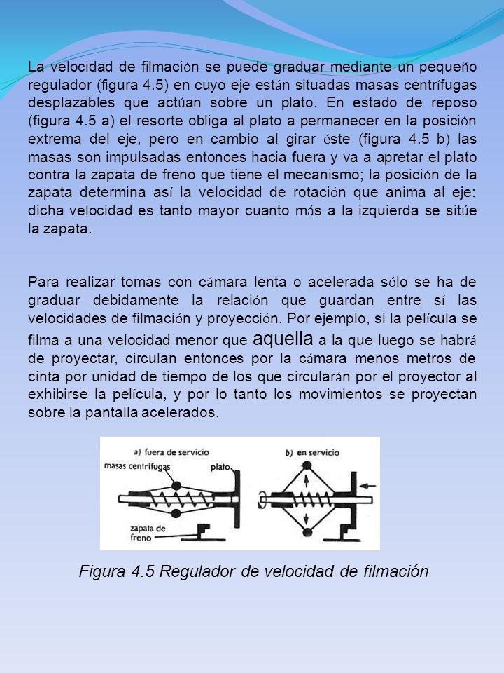 La velocidad de filmaci ó n se puede graduar mediante un peque ñ o regulador (figura 4.5) en cuyo eje est á n situadas masas centr í fugas desplazable