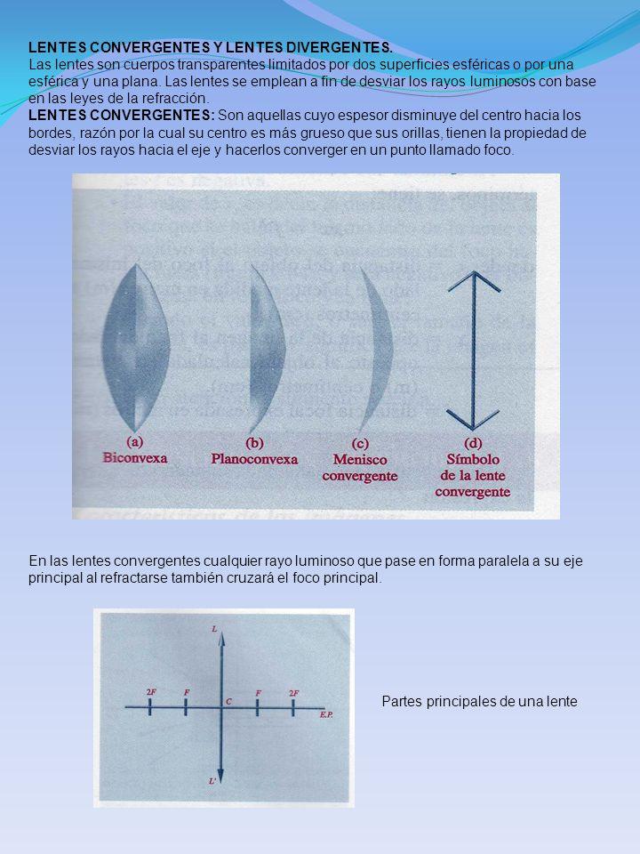 LENTES CONVERGENTES Y LENTES DIVERGENTES. Las lentes son cuerpos transparentes limitados por dos superficies esféricas o por una esférica y una plana.