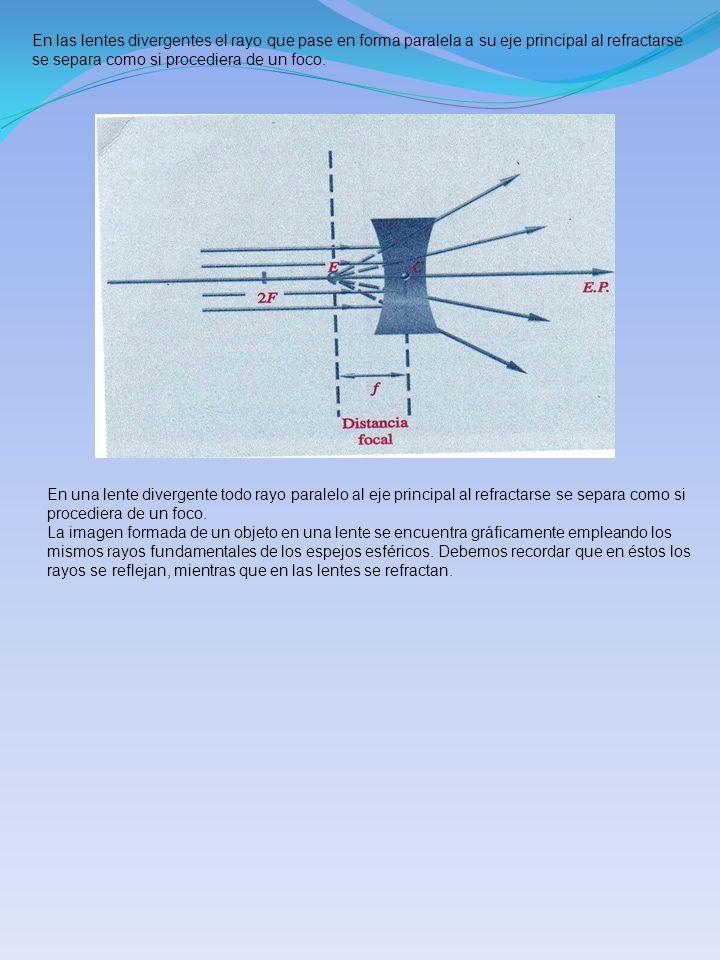 En las lentes divergentes el rayo que pase en forma paralela a su eje principal al refractarse se separa como si procediera de un foco. En una lente d