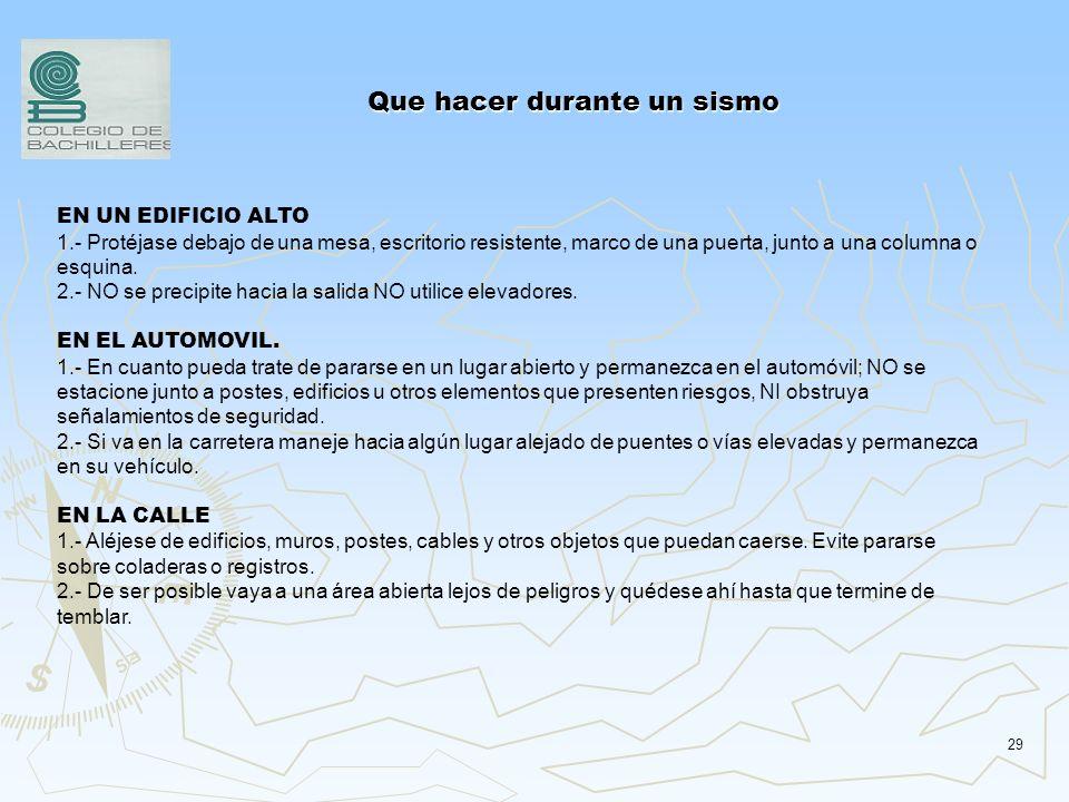 28 Que hacer durante un sismo SI USTED SE ENCUENTRA BAJO TECHO (EN EL HOGAR, LA ESCUELA O EL CENTRO DE TRABAJO) 1.- Conserve la calma y tranquilice a