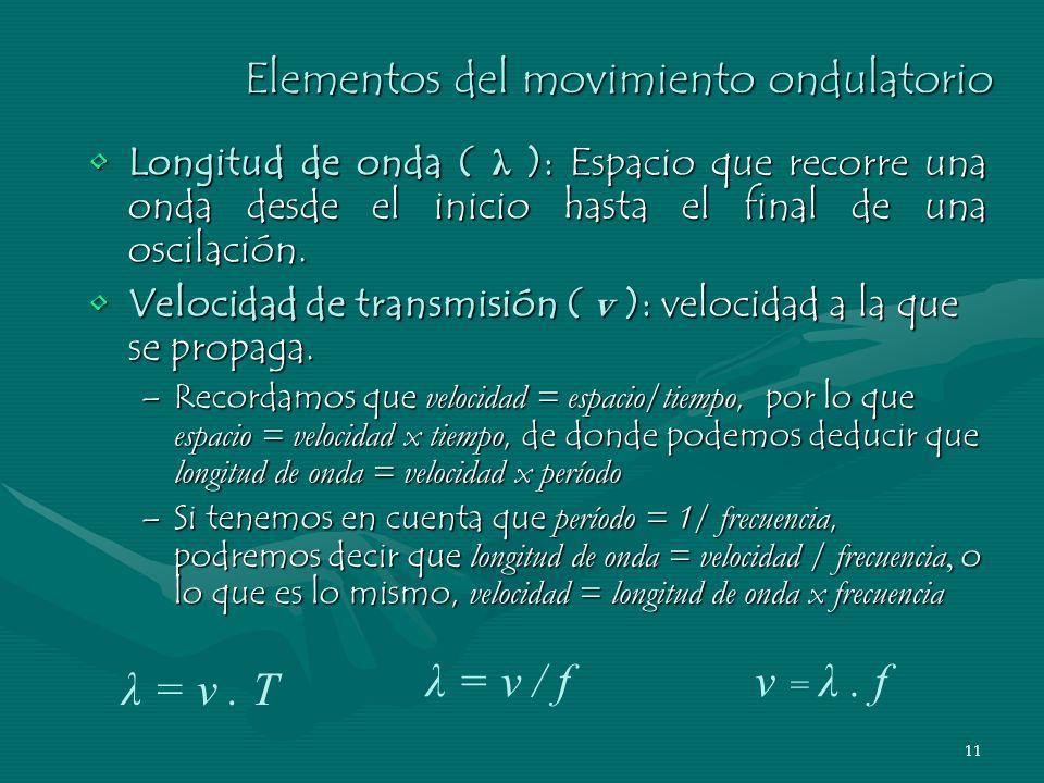 10 Elementos del movimiento ondulatorio Frecuencia ( f ): Número de oscilaciones por segundo.Frecuencia ( f ): Número de oscilaciones por segundo. –Se