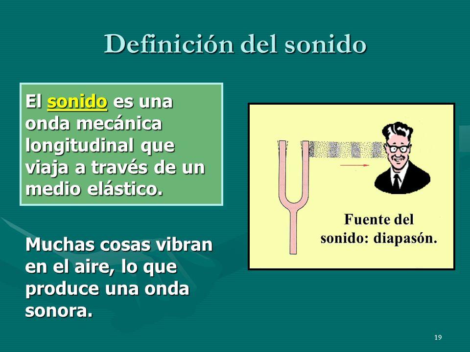 18 Columnas de aire en vibración Tal como para una cuerda en vibración, existen longitudes de onda y frecuencias características para ondas sonoras lo