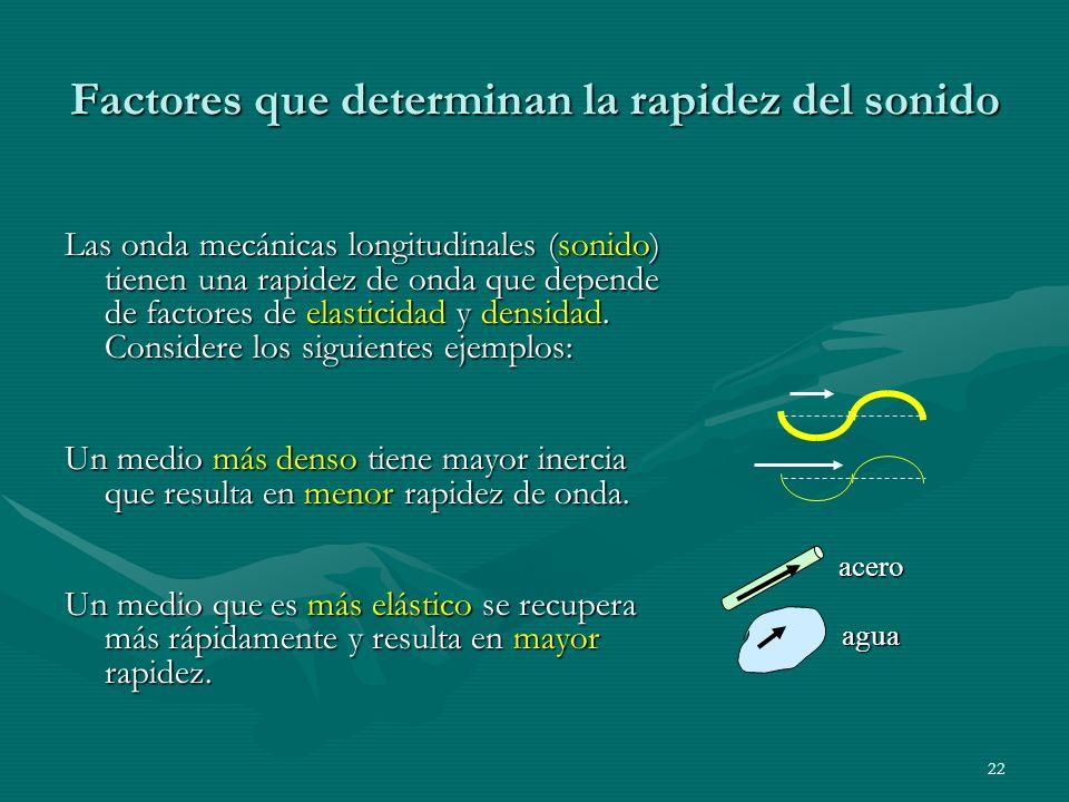 21 El Sonido El Sonido se propaga mediante ondas longitudinalesEl Sonido se propaga mediante ondas longitudinales En general, la velocidad del sonido