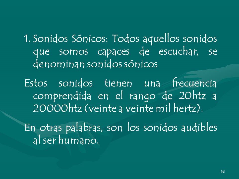35 TIPOS DE SONIDOS SÓNICOS ULTRASÓNICOSINFRASÓNICOS