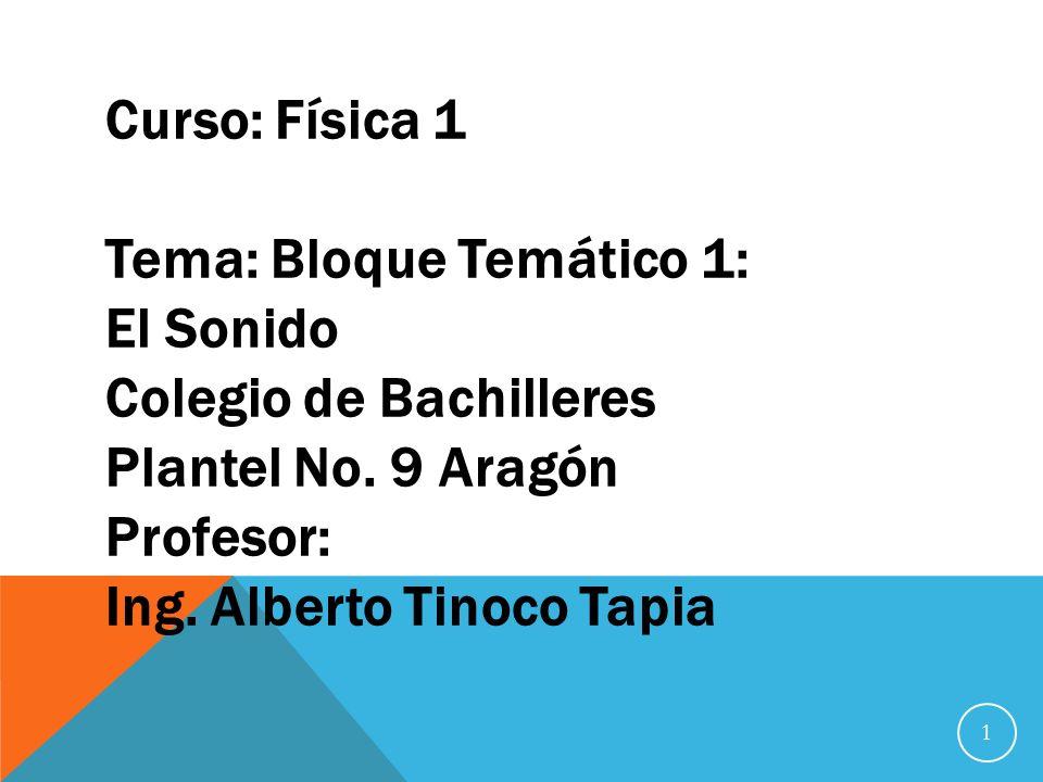 Curso: Física 1 Tema: Bloque Temático 1: El Sonido Colegio de Bachilleres Plantel No.