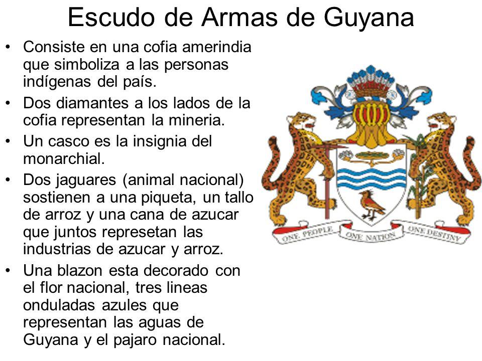Escudo de Armas de Guyana Consiste en una cofia amerindia que simboliza a las personas indígenas del país. Dos diamantes a los lados de la cofia repre
