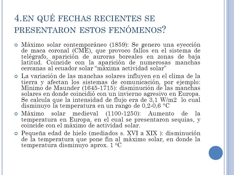 4. EN QUÉ FECHAS RECIENTES SE PRESENTARON ESTOS FENÓMENOS .