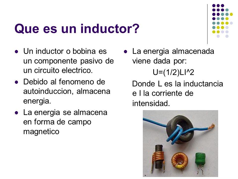 Que es un inductor? Un inductor o bobina es un componente pasivo de un circuito electrico. Debido al fenomeno de autoinduccion, almacena energia. La e