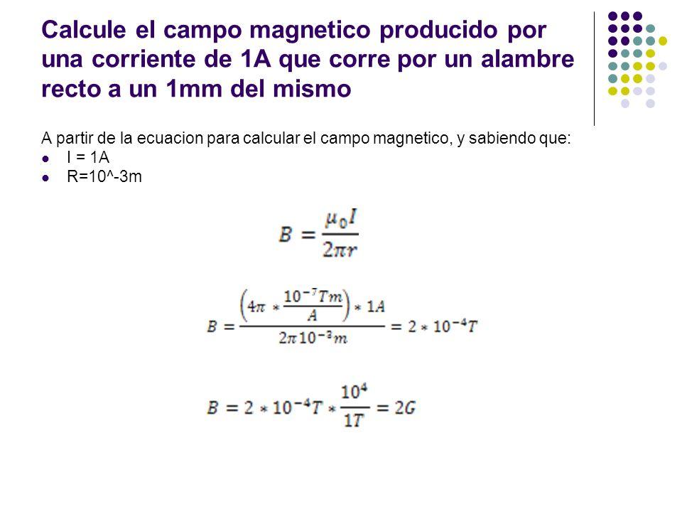 Calcule el campo magnetico producido por una corriente de 1A que corre por un alambre recto a un 1mm del mismo A partir de la ecuacion para calcular e