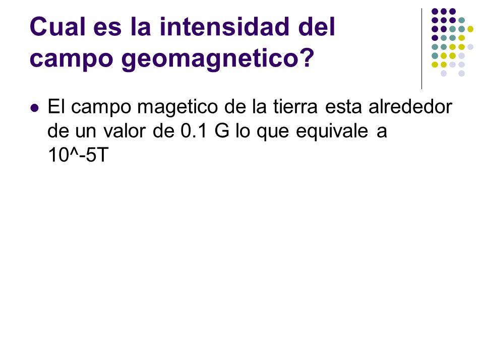 Cual es la intensidad del campo geomagnetico? El campo magetico de la tierra esta alrededor de un valor de 0.1 G lo que equivale a 10^-5T
