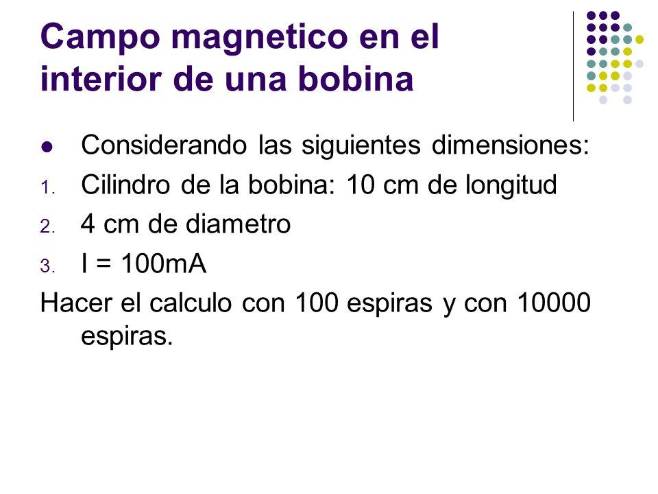 Campo magnetico en el interior de una bobina Considerando las siguientes dimensiones: 1. Cilindro de la bobina: 10 cm de longitud 2. 4 cm de diametro