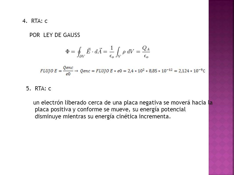 4. RTA: c POR LEY DE GAUSS 5. RTA: c un electrón liberado cerca de una placa negativa se moverá hacia la placa positiva y conforme se mueve, su energí