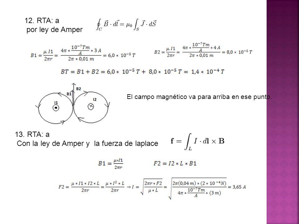 13. RTA: a Con la ley de Amper y la fuerza de laplace El campo magnético va para arriba en ese punto. 12. RTA: a por ley de Amper