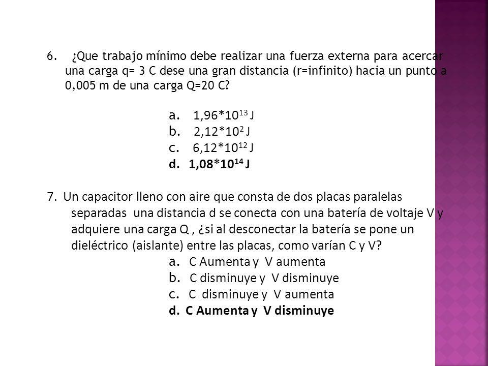 6. ¿Que trabajo mínimo debe realizar una fuerza externa para acercar una carga q= 3 C dese una gran distancia (r=infinito) hacia un punto a 0,005 m de