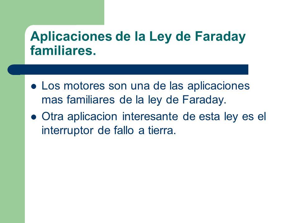 Aplicaciones de la Ley de Faraday familiares. Los motores son una de las aplicaciones mas familiares de la ley de Faraday. Otra aplicacion interesante