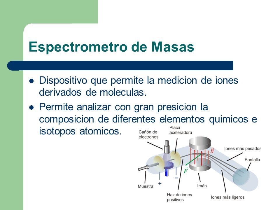 Espectrometro de Masas Dispositivo que permite la medicion de iones derivados de moleculas. Permite analizar con gran presicion la composicion de dife