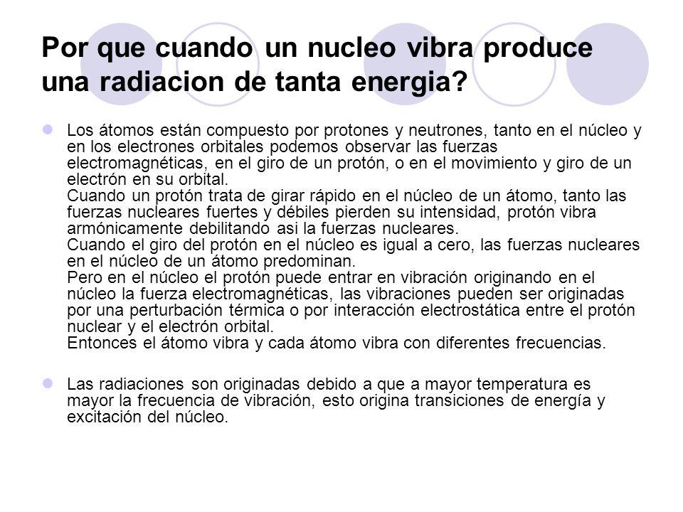 Por que cuando un nucleo vibra produce una radiacion de tanta energia.