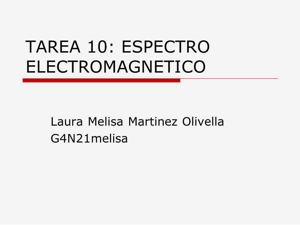 TAREA 10: ESPECTRO ELECTROMAGNETICO Laura Melisa Martinez Olivella G4N21melisa