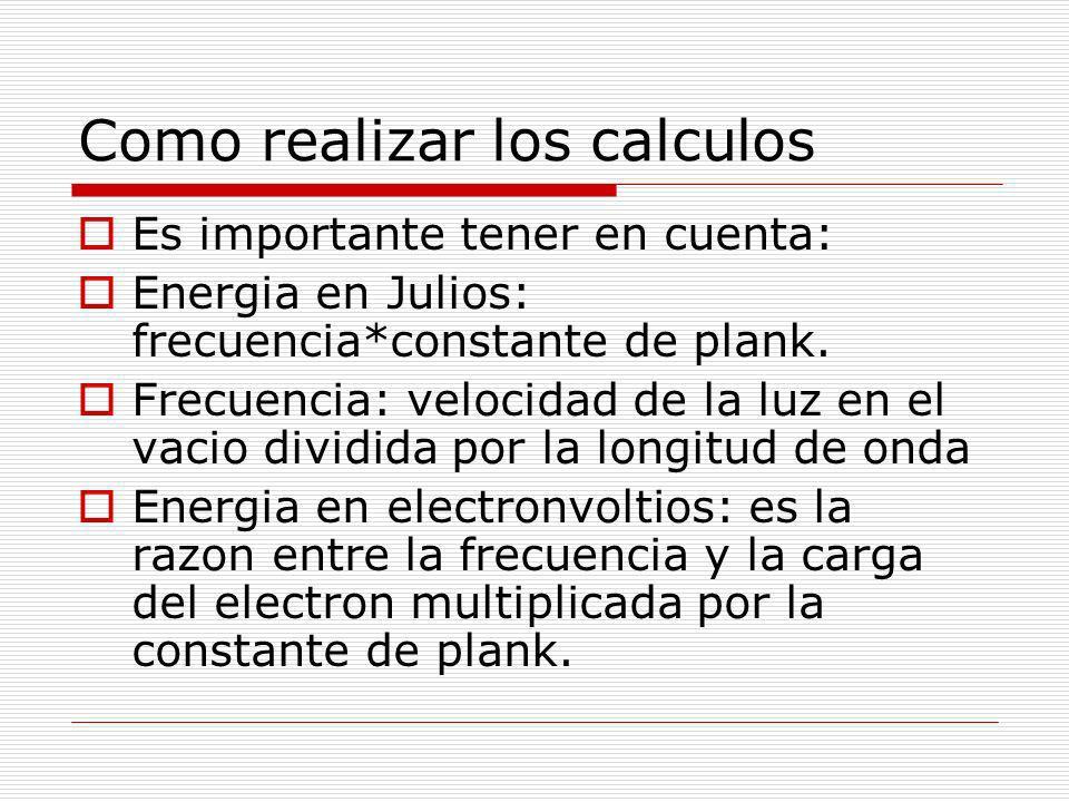 Como realizar los calculos Es importante tener en cuenta: Energia en Julios: frecuencia*constante de plank. Frecuencia: velocidad de la luz en el vaci
