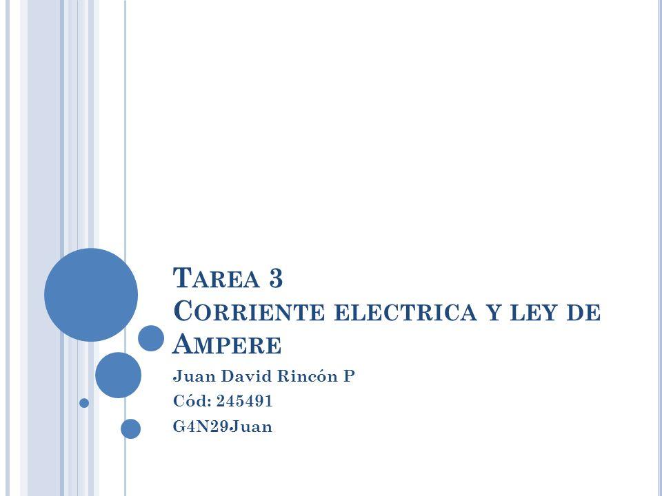 T AREA 3 C ORRIENTE ELECTRICA Y LEY DE A MPERE Juan David Rincón P Cód: 245491 G4N29Juan