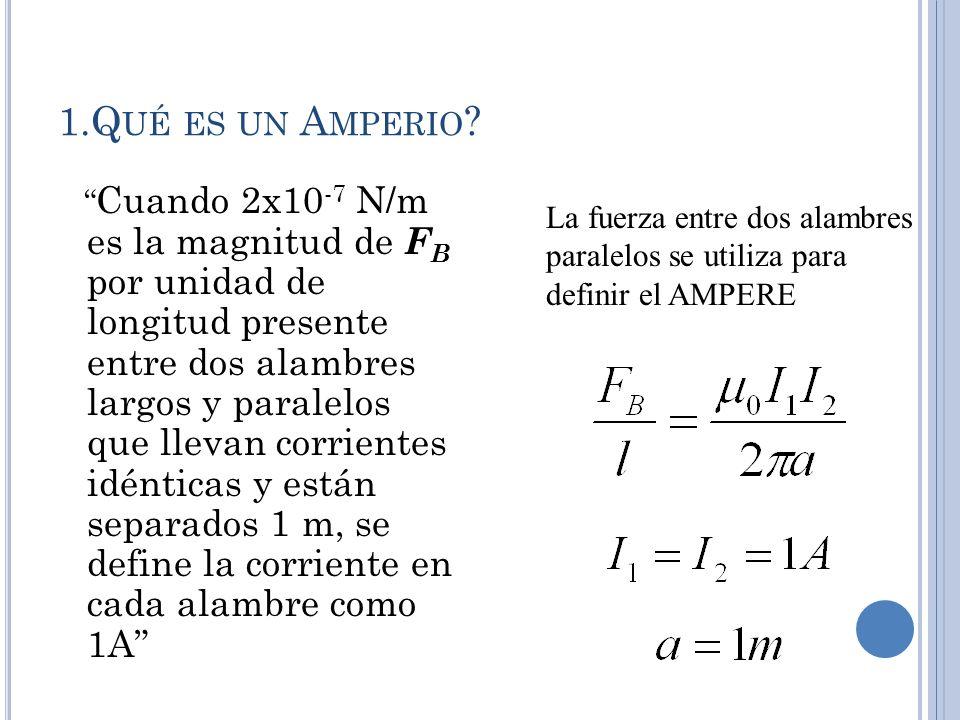 1.Q UÉ ES UN A MPERIO ? Cuando 2x10 -7 N/m es la magnitud de F B por unidad de longitud presente entre dos alambres largos y paralelos que llevan corr
