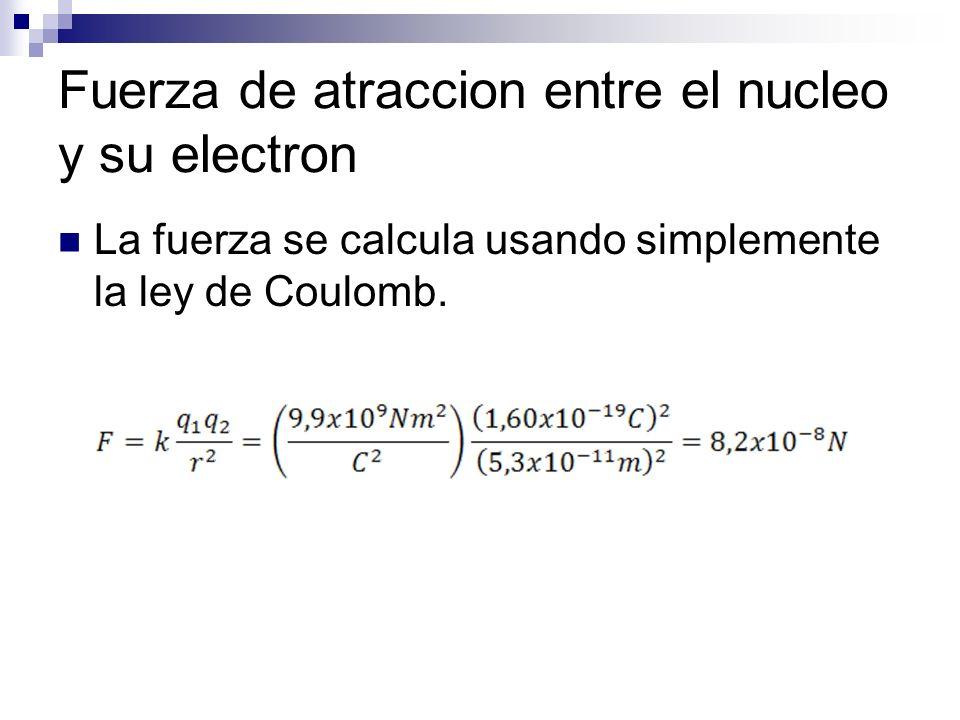 Fuerza de atraccion entre el nucleo y su electron La fuerza se calcula usando simplemente la ley de Coulomb.