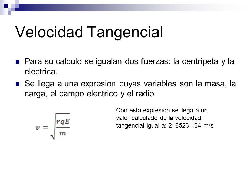 Velocidad Tangencial Para su calculo se igualan dos fuerzas: la centripeta y la electrica. Se llega a una expresion cuyas variables son la masa, la ca