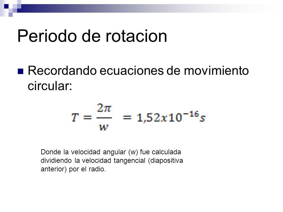 Periodo de rotacion Recordando ecuaciones de movimiento circular: Donde la velocidad angular (w) fue calculada dividiendo la velocidad tangencial (diapositiva anterior) por el radio.