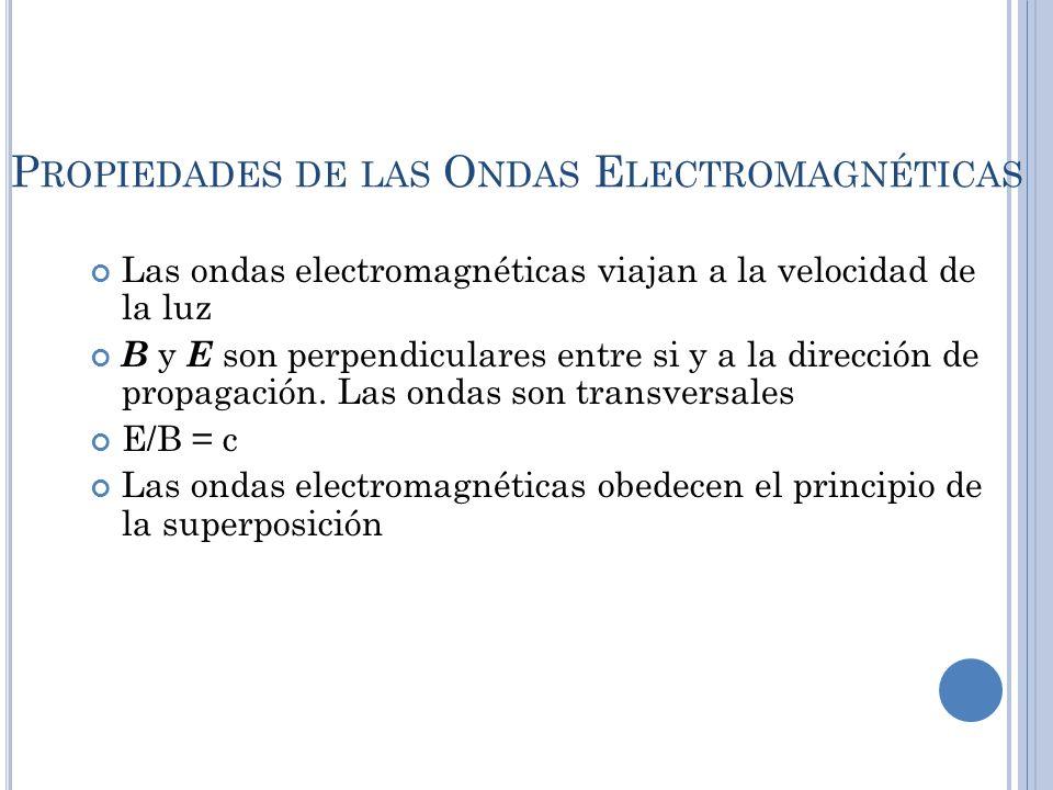 P ROPIEDADES DE LAS O NDAS E LECTROMAGNÉTICAS Las ondas electromagnéticas viajan a la velocidad de la luz B y E son perpendiculares entre si y a la di