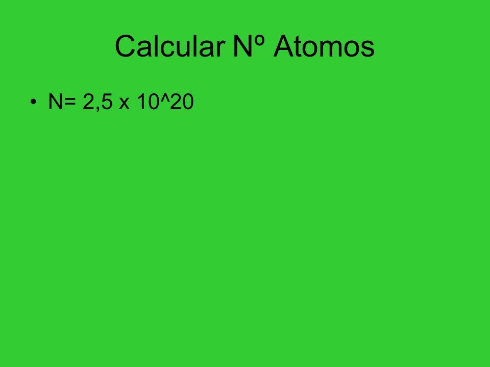 Calcular Nº Atomos N= 2,5 x 10^20