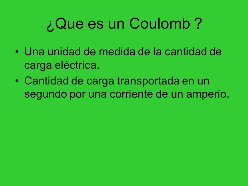 ¿Que es un Coulomb ? Una unidad de medida de la cantidad de carga eléctrica. Cantidad de carga transportada en un segundo por una corriente de un ampe