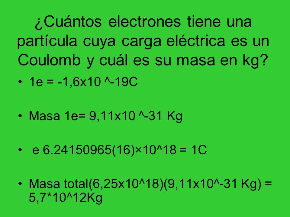 ¿Cuántos electrones tiene una partícula cuya carga eléctrica es un Coulomb y cuál es su masa en kg? 1e = -1,6x10 ^-19C Masa 1e= 9,11x10 ^-31 Kg e 6.24