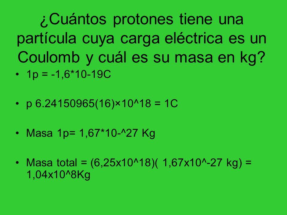 ¿Cuántos protones tiene una partícula cuya carga eléctrica es un Coulomb y cuál es su masa en kg? 1p = -1,6*10-19C p 6.24150965(16)×10^18 = 1C Masa 1p