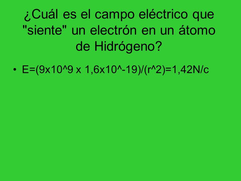 Usando la Ley de Coulomb calcule la Fuerza Eléctrica, en Newtons, que el campo eléctrico de un protón le hace a un electrón en un átomo de Hidrógeno F=Exq 1,42 x 1,6x10^-19 = 2,2x10^-8N