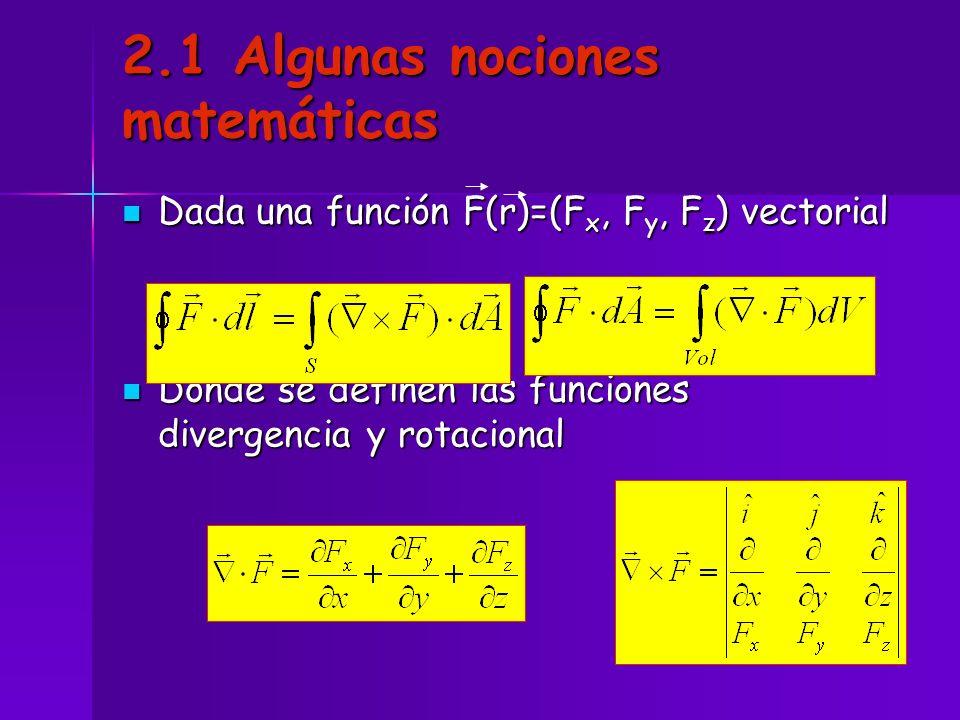 2.1 Algunas nociones matemáticas Dada una función F(r)=(F x, F y, F z ) vectorial Dada una función F(r)=(F x, F y, F z ) vectorial Donde se definen la