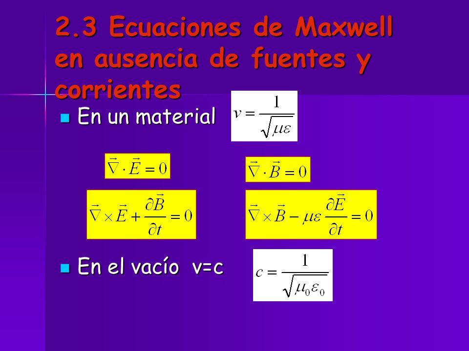 2.3 Ecuaciones de Maxwell en ausencia de fuentes y corrientes En un material En un material En el vacío v=c En el vacío v=c
