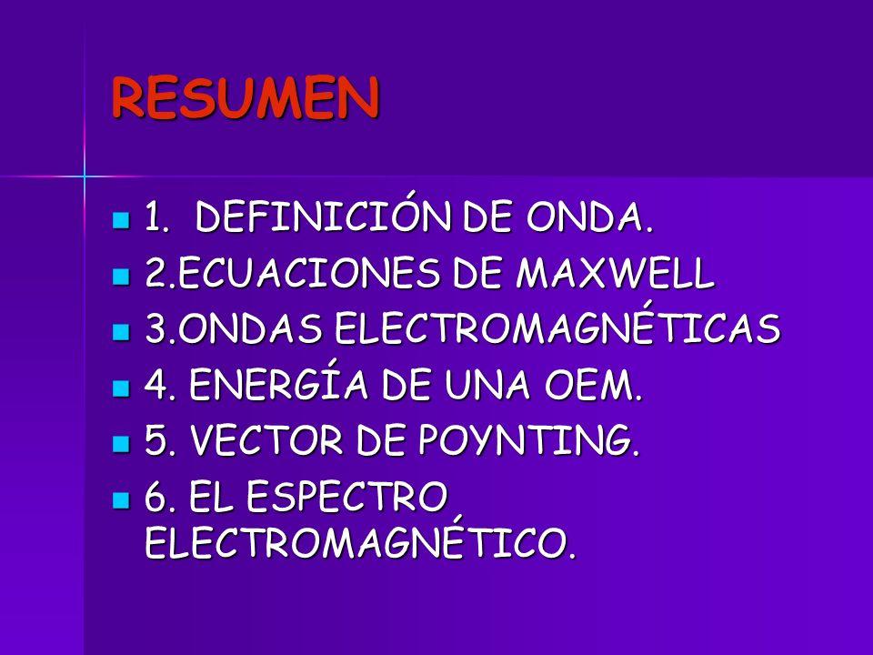 RESUMEN 1. DEFINICIÓN DE ONDA. 1. DEFINICIÓN DE ONDA. 2.ECUACIONES DE MAXWELL 2.ECUACIONES DE MAXWELL 3.ONDAS ELECTROMAGNÉTICAS 3.ONDAS ELECTROMAGNÉTI