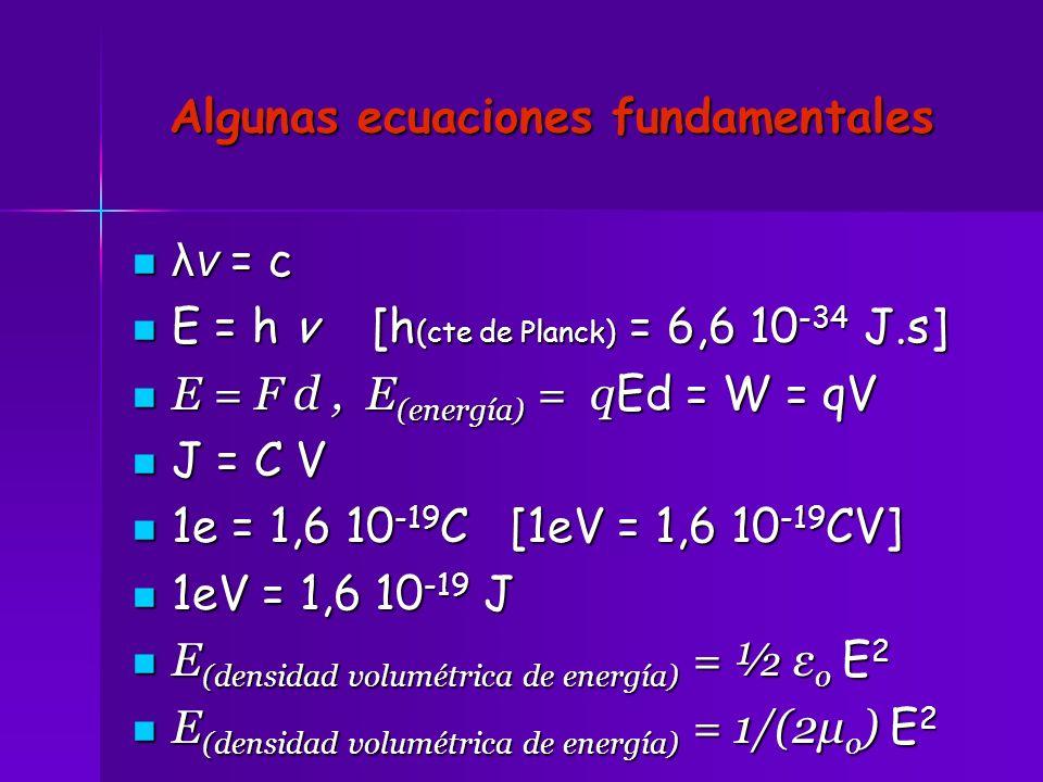 Algunas ecuaciones fundamentales λv = c λv = c E = h v [h (cte de Planck) = 6,6 10 -34 J.s] E = h v [h (cte de Planck) = 6,6 10 -34 J.s] E = F d, E (e