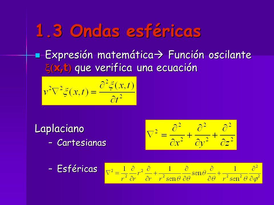 1.3 Ondas esféricas Expresión matemática Función oscilante x,t que verifica una ecuación Expresión matemática Función oscilante x,t que verifica una e