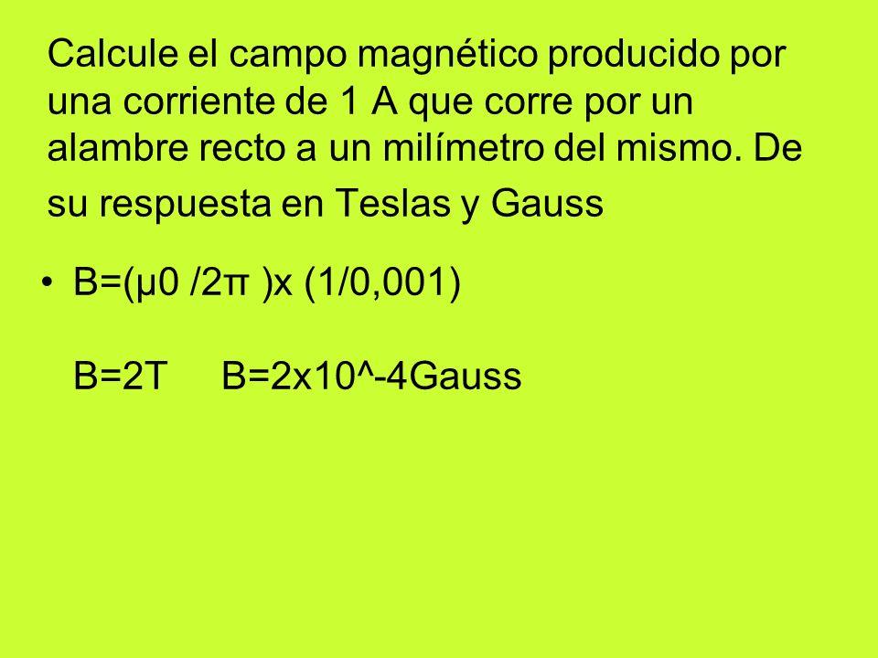 Calcule el campo magnetico de la tierra 0,3 gauss en el ecuador 0,3x10^4 tesla en el ecuador