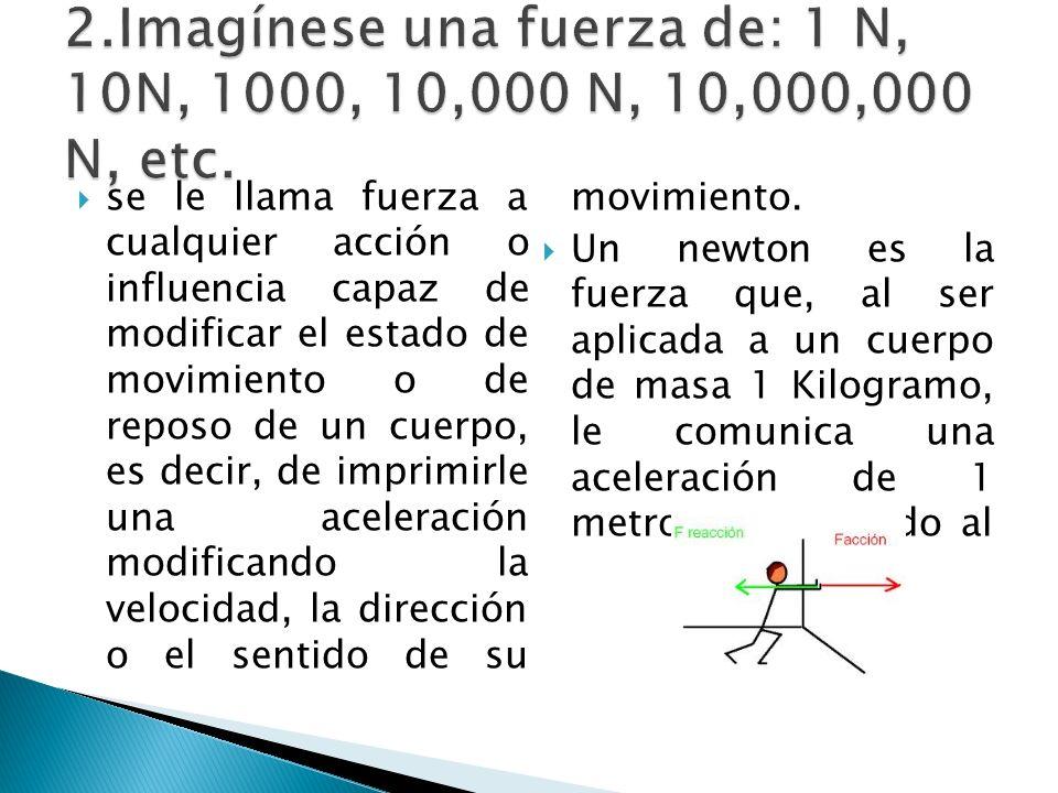 se le llama fuerza a cualquier acción o influencia capaz de modificar el estado de movimiento o de reposo de un cuerpo, es decir, de imprimirle una ac