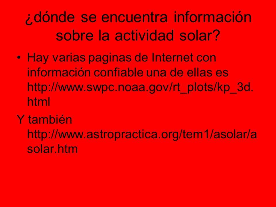 ¿dónde se encuentra información sobre la actividad solar.