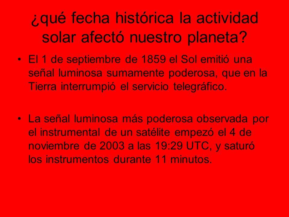 ¿qué fecha histórica la actividad solar afectó nuestro planeta.