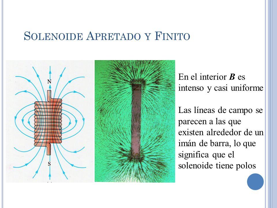 S OLENOIDE A PRETADO Y F INITO En el interior B es intenso y casi uniforme Las líneas de campo se parecen a las que existen alrededor de un imán de ba