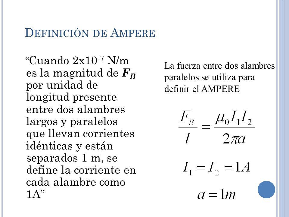 D EFINICIÓN DE A MPERE Cuando 2x10 -7 N/m es la magnitud de F B por unidad de longitud presente entre dos alambres largos y paralelos que llevan corri