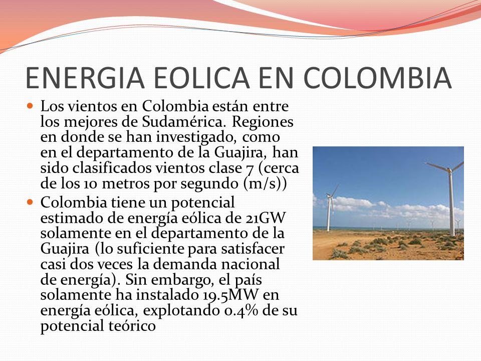 ENERGIA EOLICA EN COLOMBIA Los vientos en Colombia están entre los mejores de Sudamérica. Regiones en donde se han investigado, como en el departament